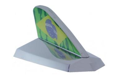 Antena Decorativa Tubarão Cromada c/ Resinado Brasil