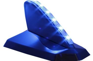 Antena Decorativa Tubarão Preto Cadilac Iluminada – com fita de led Azul